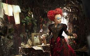 Картинка cinema, wallpaper, red, fantasy, Disney, Alice in Wonderland, red hair, dress, animals, woman, frog, Alice, …