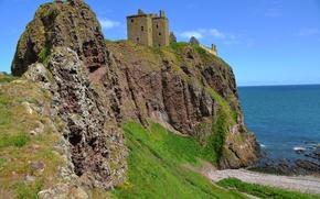 Обои скала, море, замок, Англия, побережье, Dunnottar Castle