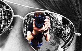 Обои отражение, Очки, объектив