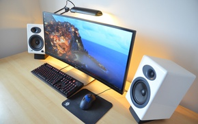 Обои mouse, keyboard, elegant pedestal, Desktop pc, curved monitor