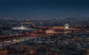 Картинка lights, Paris, night, France, bridges, street, Seine, ferris wheel