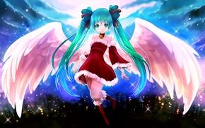 Картинка девушка, радость, новый год, крылья, ангел, vocaloid, hatsune miku, вокалоид, art, огни города, arie9
