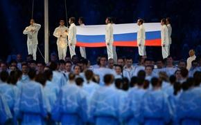 Картинка люди, Флаг, Россия, триколор, спортсмены, знамя, хор, Сочи 2014, Sochi 2014, Paralympic games, Церемония открытия …