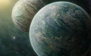 Картинка космос, звезды, туманность, две, планеты, пара, рядом