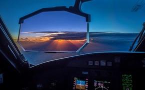 Обои небо, закат, самолёт