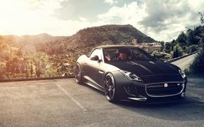 Картинка солнце, горы, чёрный, Jaguar, ягуар, black, блик, front, F-Type, V8 S, Fernandez World Photography