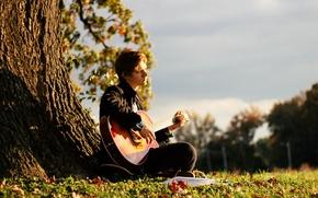 Картинка музыка, настроение, гитара, парень