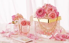 Картинка украшения, цветы, ленты, розовый