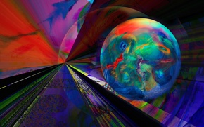 Картинка лучи, свет, линии, полотно, цвет, шар