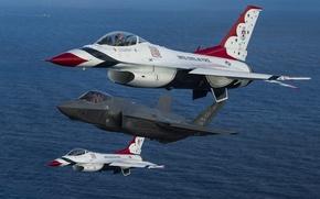 Картинка истребители, F-16, Fighting Falcon, Thunderbird, F-35A