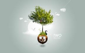 Картинка животные, дерево, шар, логотип, лебедь