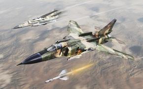 Картинка небо, ракета, воздух, самолёт, миг-23, empire strikes back