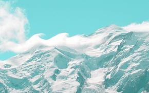 Картинка Небо, Облака, Снег, Гора
