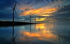 Обои море, вода, отражение, вечер, вітряки
