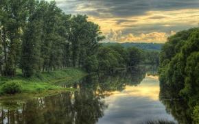 Картинка небо, облака, деревья, пейзаж, тучи, природа, река