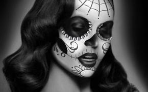 Картинка девушка, паутина, арт, стразы, черно-белое, раскраска, монохромное