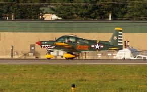 Картинка самолет, легкий, аэродром, взлёт, Airplane N38X, четырёхместный, Grumman AA-5