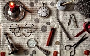 Картинка письмо, часы, свеча, очки, монеты, ножик, натюрморт, лупа, колокольчик, ножницы