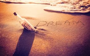 Картинка песок, пляж, dream, beach, sunset, sand, bottle