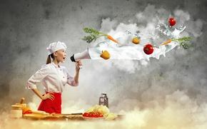 Картинка девушка, креатив, молоко, повар, азиатка, овощи, помидоры, морковь, перчик, готовка, рупор