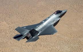 Картинка полет, земля, истребитель, пилот, бомбардировщик, Lightning II, Lockheed Martin, F-35A