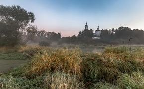 Картинка поле, пейзаж, туман, храм