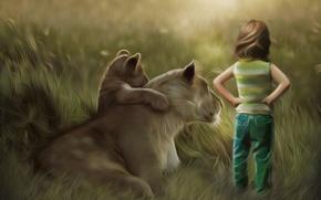 Картинка трава, ребенок, лев, арт, львица, детеныш, спиной, львёнок