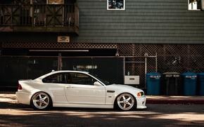 Картинка BMW, white, E46, stance