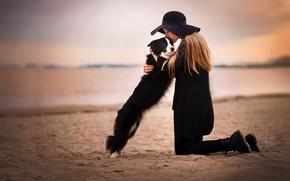 Обои фон, девушка, собака