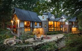 Картинка дизайн, дом, окна, вечер, архитектура, особняк