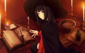 Картинка магия, Девушка, шляпа, свечи, знаки, книга, кинжал, ведьма, палочка