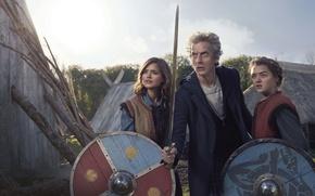Картинка девушки, меч, актер, мужчина, Doctor Who, щиты, Доктор Кто, актрисы, Maisie Williams, Peter Capaldi, Питер ...