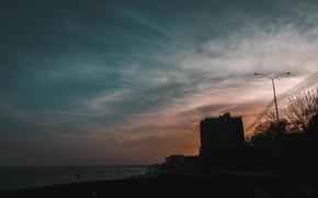 Картинка Волга, Саратов, небо, набережная, город