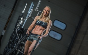 Картинка blonde, pose, ropes, abs, Crossfit