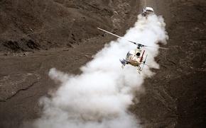 Обои X-raid, 2014, Мини, Mini Copper, Гонка, Пыль, Вертолет, Спорт, Dakar, Mini, Внедорожник, Ралли