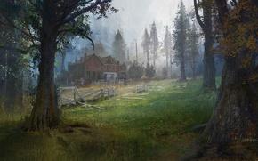 Картинка лес, деревья, дом, арт, The Last of Us