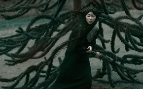 Картинка девушка, арт, фантазия, Agnieszka Lorek, ветки, Lilian Liu, Sadness