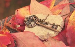Картинка осень, листья, металл, камень, ключ, красные, доска, цепочка