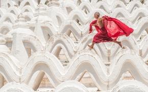 Картинка мальчик, бег, Мьянма, Myanmar, Мингун, Mingun, Пагода Синбьюме-Пайя, Mya Thein Tan Pagoda, Hsinbyume Pagoda