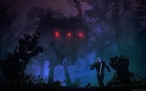 Картинка лес, деревья, ночь, дом, сказка, geralt, fan art, The Witcher 3: Wild Hunt, Geralt of ...