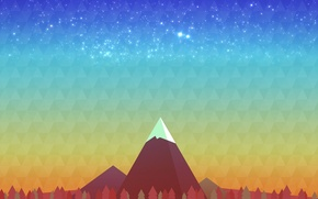 Картинка деревья, гора, Минимализм