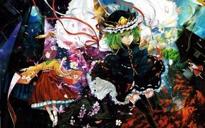 Картинка вода, ленты, времена года, луна, шапка, лепестки, сакура, лестница, зеленые волосы, art, кленовые листья, свиток, …