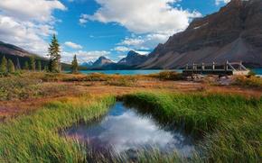 banff national park, alberta, canada, канада, озеро, горы, небо, облака, лес, деревья, трава, мостик, осень, природа обои