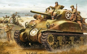 Картинка рисунок, нормандия, танки, высадка, sherman, Operation Torch, Flames of War