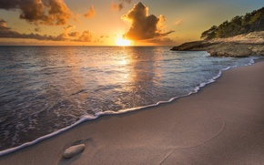 Картинка море, пейзаж, закат, природа, побережье