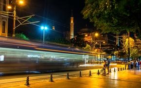 Картинка ночь, выдержка, Стамбул, Турция, night, Istanbul