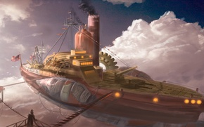 Картинка небо, дирижабль, airship, steampunk