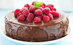 Картинка ягоды, малина, шоколад, торт, cake, десерт, выпечка, глазурь