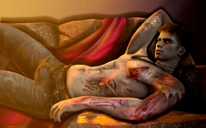 Обои fan art, dmc, capcom, tattoo, парень, devil may cry
