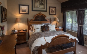 Картинка дизайн, стиль, кровать, подушки, картины, спальня, комод